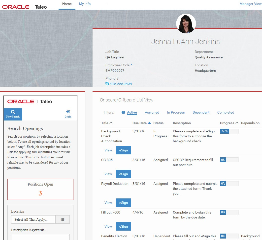 tbe onboard automate employee onboarding and new hire paperwork talent center my info page